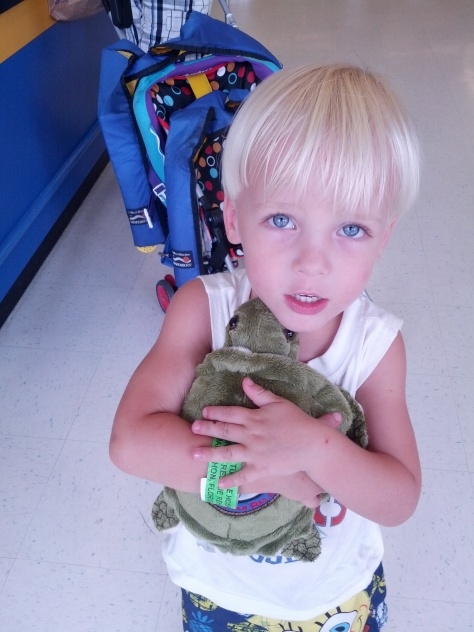 Kaelin and his new turtle.